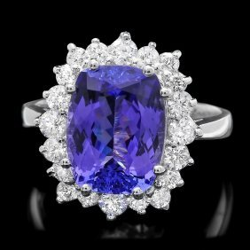 14k Gold 5.0ct Tanzanite 0.85ct Diamond Ring
