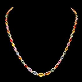 14k Gold 30ct Sapphire 1.20ct Diamond Necklace