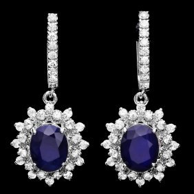 14k Gold 6ct Sapphire 1.80ct Diamond Earrings