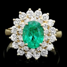 14k Gold 2ct Emerald 1.50ct Diamond Ring