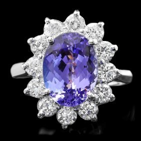 14k White Gold 4ct Tanzanite 1.30ct Diamond Ring