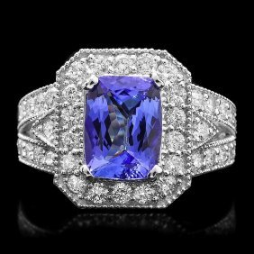 14k Gold 3ct Tanzanite 1.50ct Diamond Ring