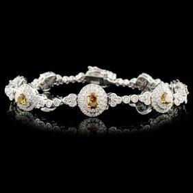 18K Gold 3.81ctw Fancy Color Diamond Bracelet