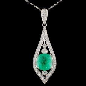 18k White Gold 4.19ct Emerald & 0.90ct Diamond Pen