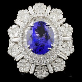 18k Gold 4.15ct Tanzanite & 3.65ctw Diamond Ring