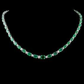 14k Gold 26.56ctw Emerald & 1.75ctw Diamond Neckla