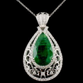 18k Gold 13.56ct Emerald & 2.39ctw Diamond Pendant