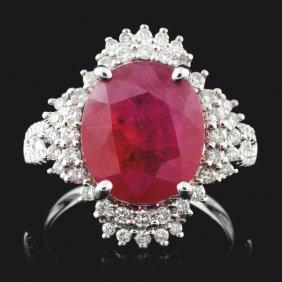 18k White Gold 5.30ct Ruby & 0.52ct Diamond Ring