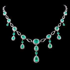 18k Gold 8.58ct Emerald & 2.43ct Diamond Necklace