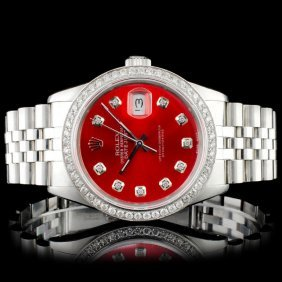 Rolex Ss 36mm Datejust 1.50ct Diamond Wristwatch