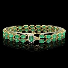 14k White Gold 17.30ct Emerald & 0.40ct Diamond Br