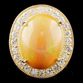 14k Gold 8.57ct Opal & 1.32ctw Diamond Ring