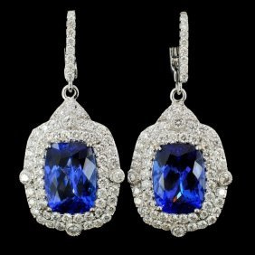 18k Gold 9.51ct Tanzanite & 2.37ct Diamond Earring