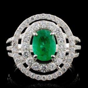 14k White Gold 1.15ct Emerald & 1.14ct Diamond Rin