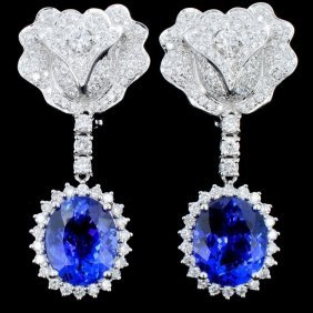 18k Gold 8.77ct Tanzanite & 2.40ct Diamond Earring