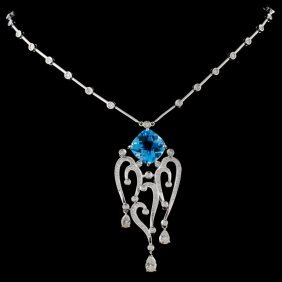 14k White Gold 6.44ct Topaz & 1.78ctw Diamond Neck