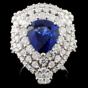 18k Gold 3.65ct Sapphire & 1.82ct Diamond Ring