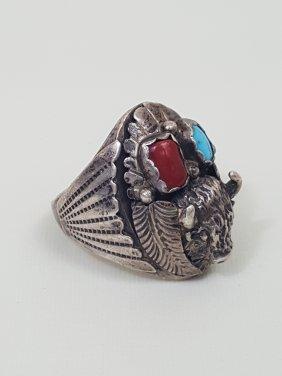 A Navajo Handmade Silver Heavy Men's Ring Buffalo Head