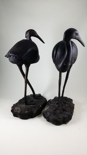 A Pair Of Old Chinese Bronze Cranes