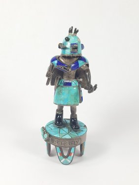 A Silver-turquoise Butterfly Warrior Kachina Hopi