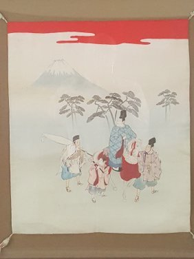 An Old Japanese Painting And Needlework On Silk With