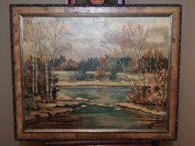 Oil Painting On Board Painting Of Landscape- Signed