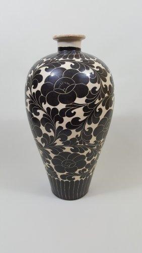 A Cizhou Sgraffito Meiping Vase- Republic