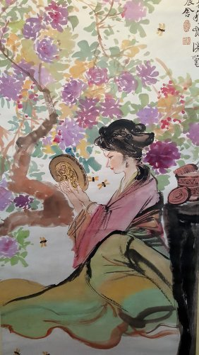 A Long Chinese Scroll Painting Of Woman Under Autumn