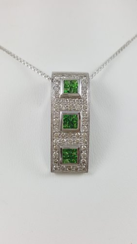 A Tsavorite Green Garnet And Diamond Bar Necklace 14k