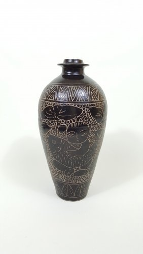 A Black Glaze Bottle With Song Dynasty Characteristic