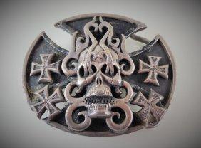 A Silver Skull Belt Buckle