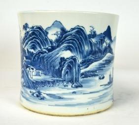 Chinese Blue & White Brush Pot