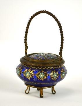 French Enamel Basket W Jewel