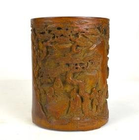 Sotheby's Fine Carved Bamboo Brush Pot