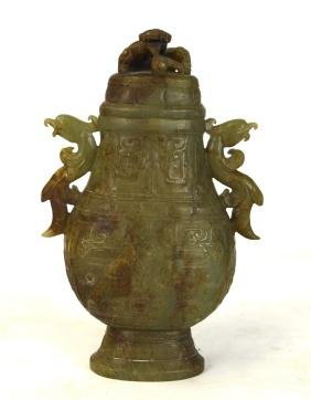 Chinese Carved Archaic Jade Vase