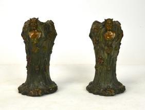 Pair Of Bronze Art Nouveau Vases W Figures