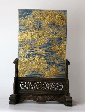 Chinese Gilt Lapis Plaque On Wood Stand