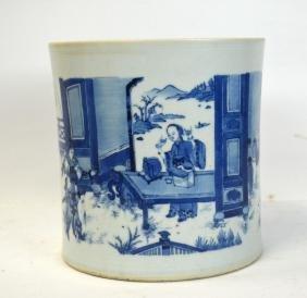 17/18th Cen. Fine Blue & White Brush Pot