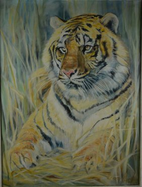 "Ecaro ""Asian Tiger"" Original Oil On Canvas"