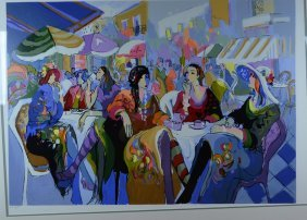 "Isaac Maimon, ""Caf� Outdoors"", Serigraph"