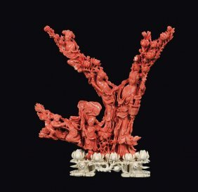 A Coral �Guanyin And Boys� Group, China, Qing Dynasty,