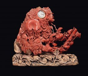 A Coral Group With Wooden Base With A Set Watch, China,