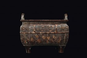 A Square Bronze Censer With Gold Strokes, Apocriphal