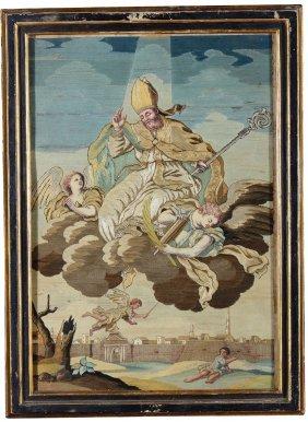 Coppia Di Ricami Raffiguranti Sant'oronzo E