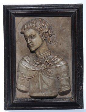 Altorilievo In Marmo Raffigurante Busto Di Giovane