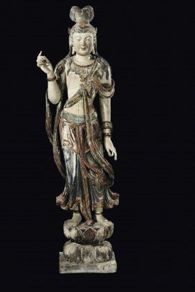 A Large And Important Carved Polychrome And Gilt Wood