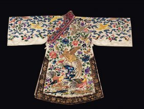 A Silk Flowers-ground Dress Embroidered With Roosters,