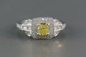Fancy Intense Yellow Diamond Ring,