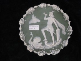 "German Jasperware Plaque, Knight & Swan, 5 3/4"", Exc"