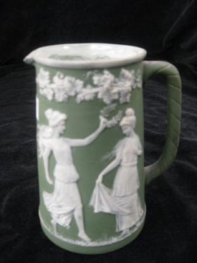 German Jasperware Creamer, Maidens In Garden, 4 1/2""